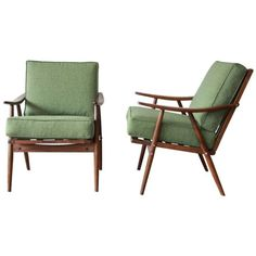 Pair of Mid-Century Modern Walnut Lounge Chairs by Ligna, circa 1950 1
