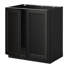 metod l vier 2 ptes effet bois noir laxarby brun noir ikea - Cuisine Bois Noir Ikea