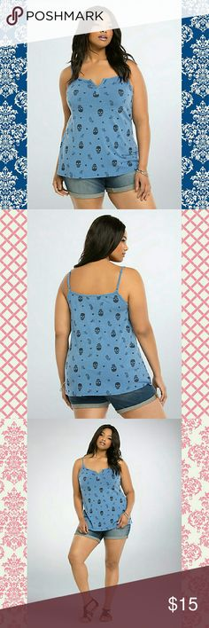 """💞Skull Paisley Vintage Wash Top💞 Summer, don't slow down on us now! We just want this cami top already. Vintage wash processing gives the cornflower blue knit a cool """"had this forever"""" look. The distressed skull, paisley, floral, and heart print (phew) has all the patterns you'd want.     Model is 5?11?, size 1      Size 1 measures 29 1/2"""" from shoulder     Cotton/modal     Wash cold, dry low     Imported plus size tank torrid Tops Tank Tops"""