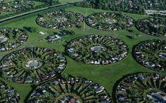 Urban planning in Denmark, houses, circles, green