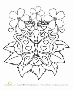 Kindergarten Holidays & Seasons Worksheets: Color the Butterfly Hearts