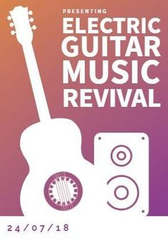 A creative music festival poster. 'Presenting electric guitar music revival'. An illustration of a guitar and sound system. You are in the right place about Music Festival shoes Here we offer you the