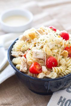 #ad This one-pot chicken caesar pasta is rich, creamy, and can be made in 15 minutes thanks to Barilla Pronto pasta and Tyson Grilled and Ready Chicken Strips! #everdayeffortless