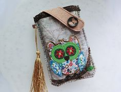 Patchworks Owl Mobile Phone Pouch-Samsung-HTC-LG from Lily's Handmade - Desire 2 Handmade Gifts, Bags, Charms, Pouches, Cases, Purses by DaWanda.com