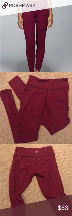 Lululemon rust berry pique wunder under leggings Cranberry maroon color, very comfy and soft! Great condition! Long length! Make me an offer :) lululemon athletica Pants Leggings