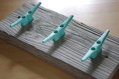 Three Boat Cleat Wall Hooks Mounted on by ByTheSeashoreDecor