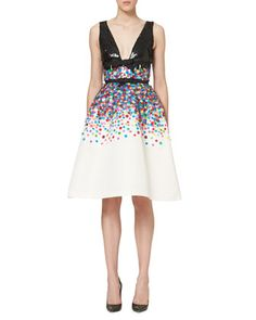 Sequined Sleeveless Cocktail Dress, Multicolor by Carolina Herrera at Neiman Marcus.