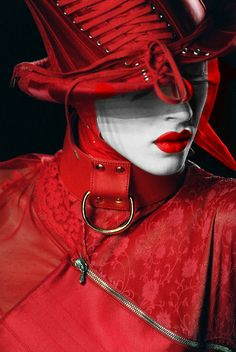 Christian Dior Couture Fall 2000 -- Editorial Photography - Fashion - Red - Hat - Portrait