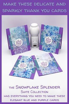 Diy Cards, Your Cards, Holiday Cards, Christmas Cards, Snowflake Cards, Christmas Snowflakes, Christmas Thank You, Snow Flakes Diy, Purple Cards