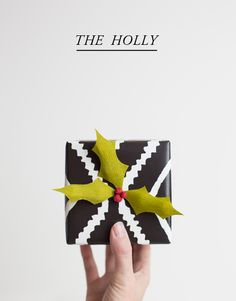 Holly and berries gift wrap.