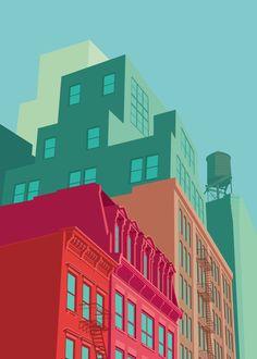 / mulberry street / soho, new york city / illustration by remko heemskerk on behance / Buy Pictures, Pictures Online, Building Illustration, City Illustration, Soho, City Poster, New York City, Voyage New York, Mulberry Street