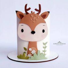 Fondant Baby, Fondant Cakes, Cupcake Cakes, Girls First Birthday Cake, Baby Birthday Cakes, Woodland Cake, Animal Cakes, Fondant Decorations, Novelty Cakes