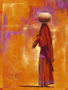Kovalam by Ravi Varghese. Beautiful colors of elegant Indian woman carrying pot......ART.COM