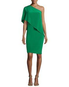 One-Shoulder Draped Cocktail Dress, Women's, Size: Green - Carmen Marc Valvo Wedding Attire For Women, Summer Wedding Attire, Dresses To Wear To A Wedding, Off One Shoulder Dress, One Shoulder Cocktail Dress, Green Cocktail Dress, Green Dress, One Sleeve Dress, Dress Clothes For Women