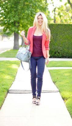 coral blazer and purple jeans, possible new obsession? Coral Blazer, Only Jeans, Purple Jeans, Business Chic, Girl Fashion, Fashion Outfits, Skirt Pants, Dress Me Up, Rebecca Minkoff