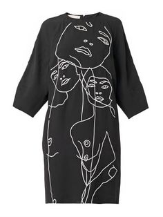 Drawing with Stitch - dress with embroidered illustration - sewing, modern embroidery, fashion design detail // Stella McCartney