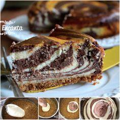 Cheesecake zebrado. Montada alternadamente em forma de zebra. Surpreende no visual, sem mudar a textura macia e voluptuosa, que tanto agrada a maioria dos paladares. Fácil de fazer e uma delicia!  http://www.montaencanta.com.br/sobremesa-2/cheesecake-zebrado/