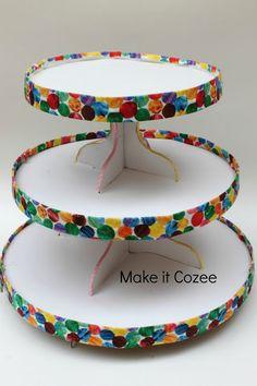 DIY Very Hungry Caterpillar cupcake stand