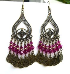 Baliwood Pink and bronze chandelier bohemian earrings, crystal jewelry, bohemian jewelry, boho earrings, dangle, hoops, bronze, glass