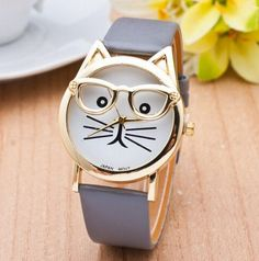 Cat Watch With Glasses Fashion Women Quartz Watches Reloj Mujer 2016 Relogio Feminino Leather Strap New Hot montre women beauty and make up Trendy Watches, Cute Watches, Elegant Watches, Unique Watches, Lunette Style, Cat Watch, Accesorios Casual, Womens Glasses, Gold Fashion