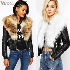73b2fc6bdeba Womens faux fur collar leather motor jacket plus sz outwear coat punk