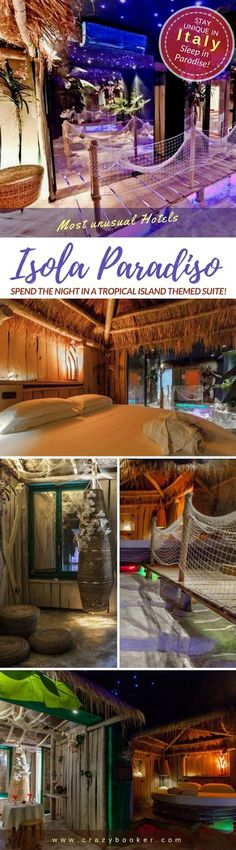 Tonga Suite in Turin let you sleep on a round bed under the thatched roof of a genuine Polynesian hut #travel #italy #turin