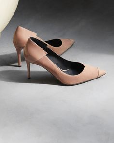 Pretty in pink with plenty of attitude. The ADELA—a perfectly designed suede pump with contrasting glossy accents. Shoe Closet, Suede Pumps, All Fashion, Giuseppe Zanotti, Women's Shoes Sandals, Pretty In Pink, Christian Louboutin, Kitten Heels, High Heels
