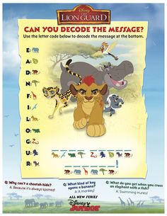 Lion Guard decoding activity sheet