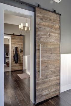 Doors to close off bathroom from master bedroom.