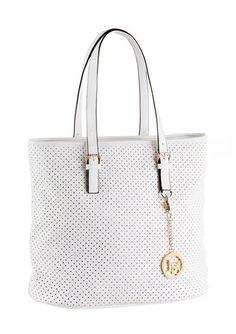 Shopper, Laura Scott, eleganter Shopper mit goldenem Logo Anhänger. Zu vielen Looks kombinierbar