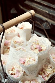 Lace confetti cones with rose petals, so romantic!