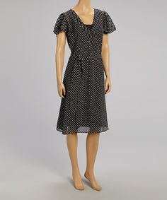 Look at this Metro 22 Black & White Polka Dot Surplice Dress - Women on #zulily today!