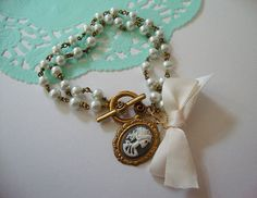 Grey and white Lolita cameo bow bracelet by DeadGirlDreams on Etsy, $20.00
