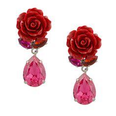 Die Ohrringe rosé in leuchtenden Pink- und Rottönen passen gut zu femininen Outfits. Die Kombination der rosé mit dem tropfenförmigen Stein bildet einen bezaubernden Kontrast - ein trendy Accessoire und vielseitig zu tragen.