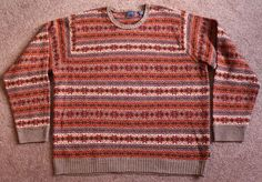 Mens IZOD Fair Isle 100% Wool Lambswool Sweater XXL 2XL Brown Orange Crew Neck #IZOD #Crewneck