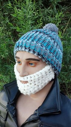 Variegated Turquoise/Gray/White/Black Beard Beanie by HolyNoggins, $35.00