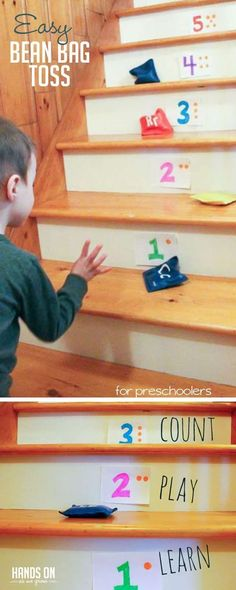 Try this easy bean bag toss on the stairs for preschoolers to learn numbers and practice counting.