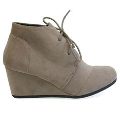 Patricia-01 Taupe Faux Suede Lace Up Faux Ankle Wedge Booties