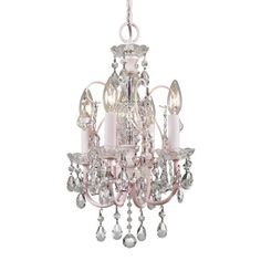Off Paris Flea Market Imperial Blush Four Light Mini Chandelier by Crystorama Lighting Group. @ The Blush finish Clear hand polished crystals make this mini chandelier a perfect fit for any little princess. Mini Chandelier, Chandelier Lighting, Crystal Chandeliers, Nursery Chandelier, Nursery Lighting, Shabby Chic Français, Royal Room, Decoration Shabby, Sevilla