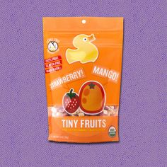 Each 1.oz pack of Strawberry & Mango Tiny Fruits is filled with refreshing diced strawberries and yummy diced mangoes. Perfect for the four feet and under crowd.  Certified Organic, NON-GMO Project Verified, Gluten Free & Kosher Parve. No preservatives, added sugars, or artificial flavors.  Contains four servings of bite sized fruit, suitable for the tiny finger of kids aged 6 months and up.