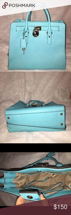 Large Michael Kors Hamilton Bag Gently used, fairly large MK bag, Bright blue MICHAEL Michael Kors Bags Totes