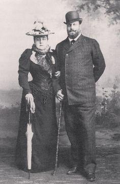 "Grand Duke Alexei Alexandrovich Romanov of Russia with his wife  Zinaida Dmitrievna Skobeleva. ""AL"""