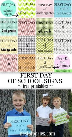 """First Day of School Signs PreK - 12th.  Free printables - perfect for the """"First Day of School"""" picture!"""