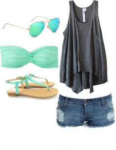 beach day. With sliiiightly longer shorts. Polyvore Clothes  Outift for • teens • movies • girls • women •. summer • fall • spring • winter • outfit ideas • dates • parties Polyvore :) Catalina Christiano
