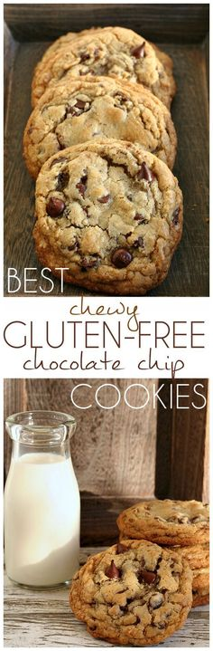Best Chewy Gluten-Free Chocolate Chip Cookies Recipe- Amazing cookies with chewy edges and gooey centers!Best Chewy Gluten-Free Chocolate Chip Cookies Recipe- Amazing cookies with chewy edges and gooey centers! Gluten Free Deserts, Gluten Free Sweets, Foods With Gluten, Dairy Free Recipes, Vegan Gluten Free, Celiac Recipes, Gf Recipes, Gluten Free Pasta, Salmon Recipes