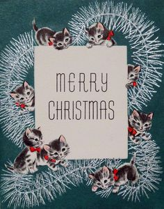 Vintage cats and tinsel Christmas card image