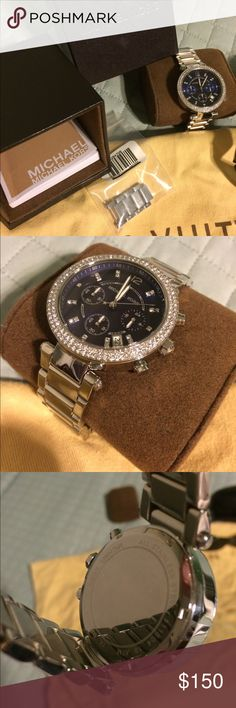 Michael Kors blue face ladies watch IF0280415. Fancy beautiful Michael Kors watch IF0280415. Blue face ladies watch. All stainless steel come with box and booklet. 2015 great condition. Water resistant. Chronograph stop watch with day and time settings. Michael Kors Jewelry Bracelets