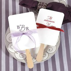 Monogrammed Favor Hand Fans by Beau-coup