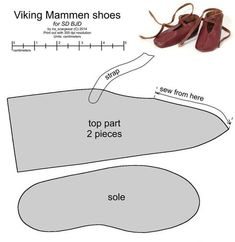 SD BJD Viking Mammen shoes by scargeear on deviantART. I posted this image twice, so I deleted the one with the fewest pins. Feel free to come back and pin this copy! Viking Shoes, Viking Garb, Viking Dress, Viking Costume, Viking Footwear, Norse Clothing, Medieval Clothing, Barbie E Ken, Clothing Patterns
