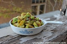 The Best Roasted Brussels Sprouts: 1 lb fresh med-sized Brussels sprouts, 2 T EVOO, 2 T honey or maple syrup, 1/2 tsp sea salt, 1/2 tsp freshly ground pepper, 5 strips of uncooked bacon, cut into small dice...How-to: www.freshbitesdaily.com/roasted-brussels-sprouts/